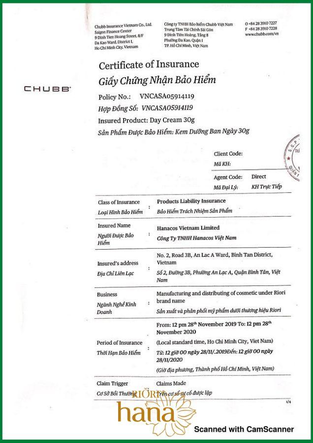 Kem dưỡng da ban ngày Riori Day Cream được Tập đoàn CHUBB cấp chứng nhận bảo hiểm