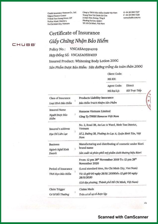 Giấy bảo hiểm kem dưỡng trắng da toàn thân Riori Whitening Body Lotion của Tập đoàn CHUBB