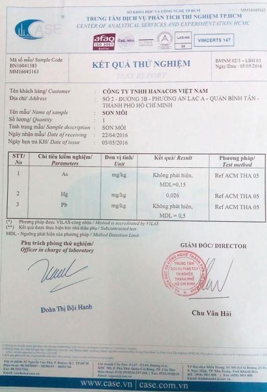 Giấy chứng nhận kết quả kiểm định son môi Riori không chứa chì của Sở KHCN