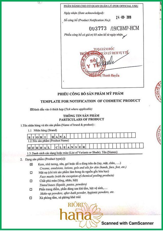 Giấy chứng nhận công bố sữa rửa mặt thảo dược Riori của Sở Y tế TPHCM