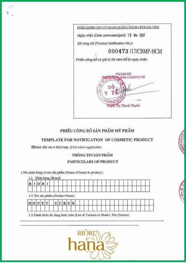 Sở y tế TPHCM cấp giấy chứng nhận sản phẩm Honey Scrub Riori