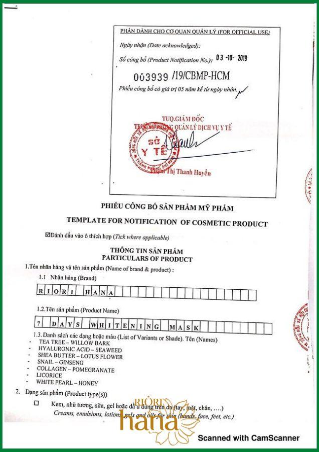 Giấy công bố lưu hành mặt nạ giấy Riori 7 Days Mask của Sở Y tế TpHCM