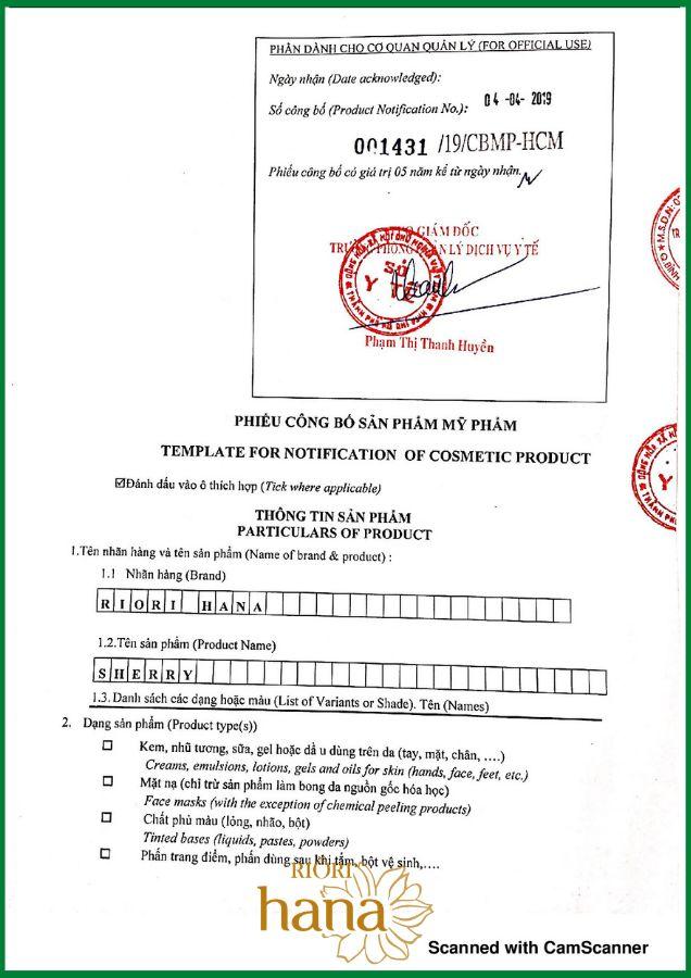 Dung dịch vệ sinh phụ nữ Riori Sherry được Sở Y tế TPHCM công bố trên toàn quốc