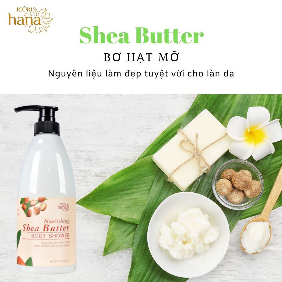 Sữa tắm bơ Riori Nourishing Shea Butter với thành phần hạt mỡ giúp da trắng đẹp