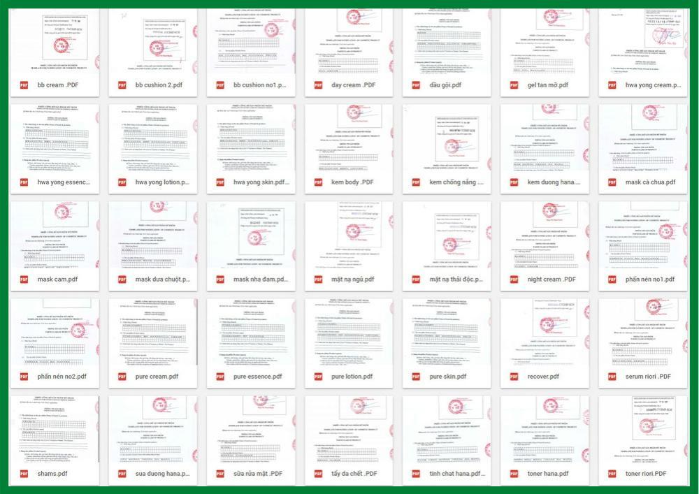 Tất cả các sản phẩm RIORI đều được Sở Y tế cấp giấy chứng nhận an toàn tuyệt đối & cho phép lưu hành trên toàn quốc