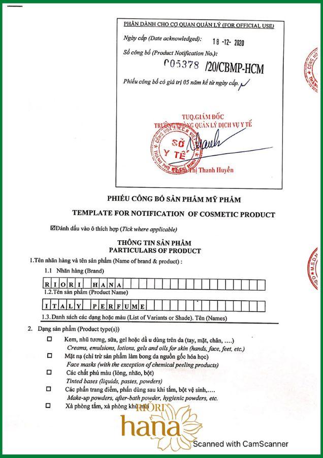 Giấy công bố khẳng định chất lượng của nước hoa Riori ITALY PERFUME